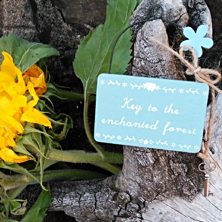 40% OFF Key to the enchanted forest fairies style hanging sign